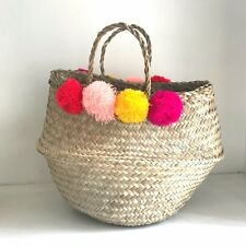 Pom Pom Seagrass Belly Basket Natural Straw Beach Bag Panier Boule Storage box