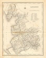 1842 ANTIQUE COUNTY MAP- LANCASHIRE,GARSTANG,BLACKPOOL,BURNLEY,MANCHESTER