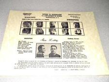 MACHINE GUN KELLY  WANTED  POSTER REPRODUCTION ON 24 LB PARCHMENT  8 1/2 x 11