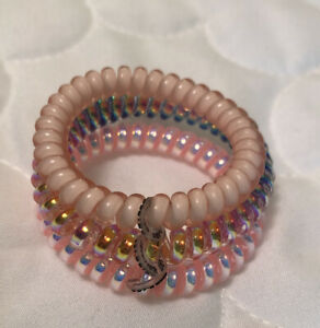 NEW! Lot Of 3 Small Teleties Hair Ties -Blush, Shimmery Pink, & Shimmery Rainbow