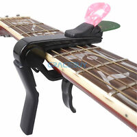 Quick Change Clamp Key Guitar Capo with Pick Holder for Acoustic Electric Guitar