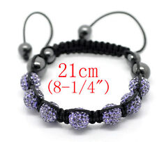 Hematite Beads Macrame Bracelet~21cm () Shamballa Sparkly Pave Purple Crystal