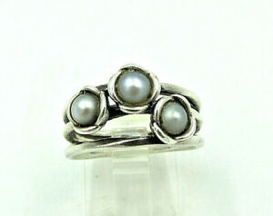 Pandora ALE Vintage Sterling Silver with Gray Pearls Three Wishes Ring