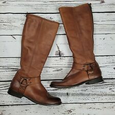 Frye Phillip Harness Tall Wide Calf Boots Womens Sz 7.5 Cognac Leather Riding