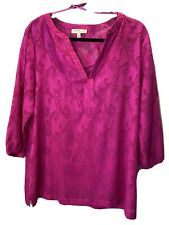 Chaus L NWT Top Camisole Texture Sheer Tunic Hawaii Paradise 3/4 Vacation Pink