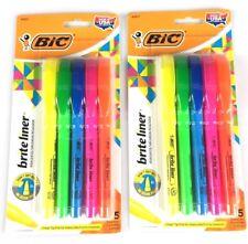 Bic Brite Liner Highlighter Chisel Tip Assorted Colors Lot of 2 5 Packs New