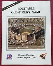 BALTIMORE ORIOLES 1988 EQUITABLE OLD TIMERS GAME SCORECARD