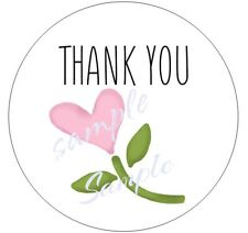 48/96/144  PINK HEART FLOWER THANK YOU STICKER LABELS  - OPTIONAL SIZES