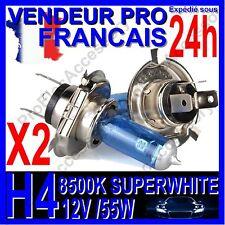KIT DE 2 AMPOULE LAMPE HALOGENE FEU PHARE XENON GAZ SUPER WHITE H4 55W 8500K 12V