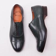 NIB $965 SANTONI FATTE A MANO Dark Green Leather Captoe Dress Shoes US 8.5 D New