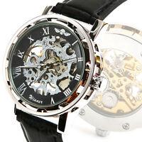 Skeleton Men's Automatic Armbanduhr Mechanical Wrist-watch Leather Clock Fast