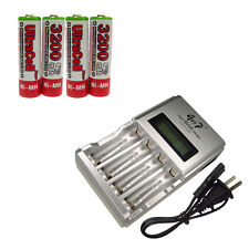 4 AA Ultracell 3200mAh NiMH 1.2V Volt Rechargeable Battery US LCD Charger Red