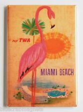 Miami Beach FRIDGE MAGNET (2 x 3 inches) travel poster florida twa pink flamingo