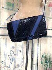 NWT Vintage CARLOS FALCHI Blue Snakeskin Leather Cross Body Purse Clutch