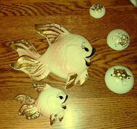 Fish Wall Plaques Pink & Gold 3 Bubbles Vintage Retro Deforest of California
