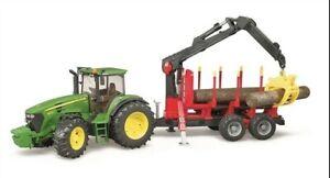 Bruder 09821 John Deere 7930 w/ Logging Trailer, Crane and 4 Logs