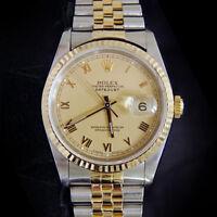 Rolex Datejust Men 2Tone 18K Gold Stainless Steel Watch Jubilee Band Roman 16233