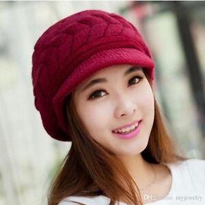 New Ladies Mohair Style Hats Warm Liner Girls Angora Feel Warm peak cap