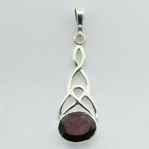 Natural and Beautiful Red GARNET Celtic Drop Pendant - 925 STERLING SILVER #32e