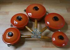 Genuine Set Of 5 Le Creuset Burnt Orange Pan Set Cast Iron Saucepans With Lids
