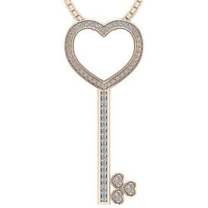 I1 G 0.55 Ct Natural Round Diamond Key Heart Pendant Necklace14K Solid Gold
