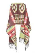 Red Brown Green Blue Tribal Print Bright Winter Statement Scarf W Tassels (s61)