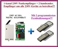 Funk Set Funksteuerung 2 x Handsender mit 1-Kanal Funk Funkempfänger 230VAC
