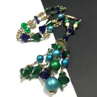 Vintage Green & Blue Crystal Beaded Long Tassel Necklace Gold Tone RETRO  zz29e