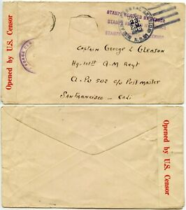 WW2 STAMPS REMOVED BY CENSOR ARMY POSTAL SERVICE USA 1942 INTERRUPTED MAIL