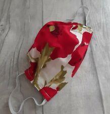 Face mask Handmade Face Mask With Filter Pocket kids red poppy floral mask