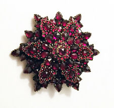 ANTIQUE VICTORIAN ROSE CUT BOHEMIAN GARNET 2-TIER FLOWER Brooch Pin