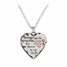 Silver Color  Heart Pink Dog Cat Paw Print Pendant Necklace Pet Lover Gift
