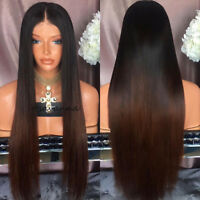 Ombre Brown Brazilian Virgin Human Hair Full Lace/Front Lace Wigs Silk Straight
