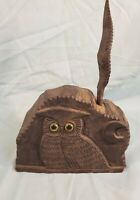 Vtg Antique HTF Unique Hand Carved Wood Desk Top Owl Pen & Ink Well dated 1938