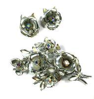 Vintage Coro Flower Brooch and Clip On Earrings Silver Tone AB Rhinestone