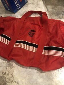 "Vintage Pizza Hut Red Nylon Duffle Bag 16"" Long Zipper Top Closure Double Handle"