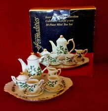 Formalities Holiday Mini Tea Set by Baum Brothers HOLLY BERRY 10 Pieces TOY Tray