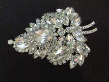 """Vintage EISENBERG Huge Brooch~Pin 3 3/4"""" Cascade Sparkling Unsigned"""