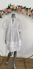 Influence Smock Dress White Cotton Poplin Puff Sleeve Size 12 14 EH78 New