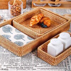 Storage Basket Rattan Serving Tray Bread Fruit Food Multi function Kitchen Decor