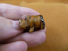 (Y-Rhi-515) Tigereye Rhinoceros I love little Rhino Rhinos gemstone Figurine