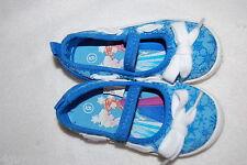Toddler Girls Shoes BRIGHT BLUE SNOWFLAKE Slip On Canvas DISNEY FROZEN Summer 8