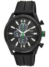 Citizen Eco-Drive Men's CTO Green Accents Black Poly Band 43mm Watch CA0665-00E
