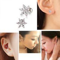1pcs Zircon Snowflake Ear Studs Cartilage Stud Tragus Helix Piercing Earring Pop