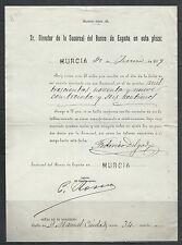 B48-DOCUMENTO ANTIGUO BANCO ESPAÑA MURCIA 1899