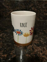 "Rae Dunn ""RINSE"" Flower & Wooden Round Holder Floral Collection By Magenta"