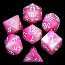 New 7 Piece Pink & White Gemini Polyhedral Dice Set – Pink Bag – RPG D&D