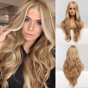 Blonde Wavy Synthetic Wigs with Highlights Long Natural Hairstyle for Women 26in