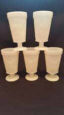 Vintage Milk Glass Pedestal Goblet Set of 5 Grape Pattern