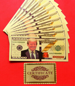 10 Pieces of US Donald Trump Commemorative Coin President Banknotes $100,000